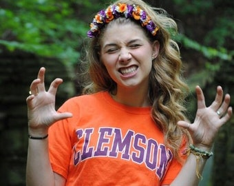 Clemson Tigers gear college spirit wear flower crown handmade by CWERKY football team university Big little sister sorority gift little