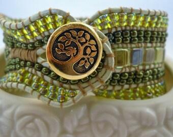 Green Leather Wrap Cuff, cuff bracelet, green leather wrap, beaded cuff leather wrap, stacked cuff, beaded cuff bracelet, sale jewelry