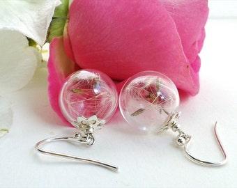 Dandelion Earrings, Make a Wish Earrings, Dandelion Jewelry, Sterling Silver Earrings, Real Flower Jewelry