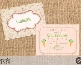 Ice Cream Party. Printable Invitation Card
