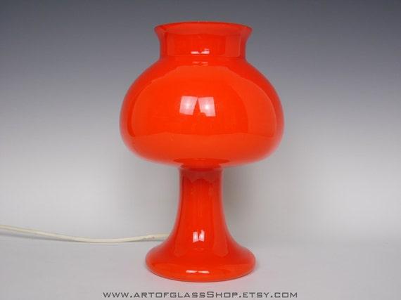 lampe champignon en verre vintage orange. Black Bedroom Furniture Sets. Home Design Ideas