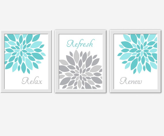 Teal gray bath wall art floral bathroom prints relax for Teal and gray bathroom decor