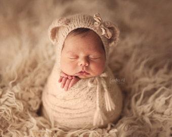 Newborn Bear Bonnet - Newborn Photo Prop - Newborn Girl Hat - Newborn Knit Hat - Nwborn Bear Hat - Baby Bear Hat - Softest Knit Hat - Gift