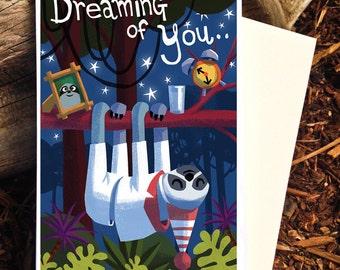 Sloth Card, Dreaming of You Card, Miss You Card, I Love You Card, Sloth Print