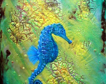 """Limited Edition Prints of a Colorful Seahorse """"Ray Of Light"""""""