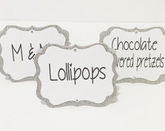 Sparkle Sliver Candy Buffet Tags, Candy Tent Labels, Candy Bar Labels