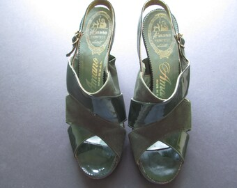 1940'S Deep Forest Green Suede and Patent Leather Sling Back Pumps Peep Toe Size 7 1/2