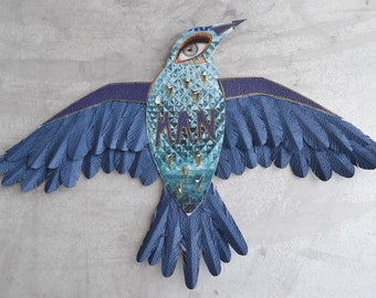 Recycled blue paper eagle bird art wall illustration decoration sculpture