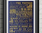 University of Michigan Wolverines Jim Harbaugh Subway Scroll Art Print Wall Decor Typography Inspirational Poster Motivational
