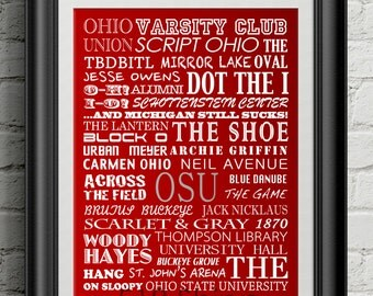Ohio State University Buckeyes Urban Meyer Subway Scroll Art Print Wall Decor Typography Inspirational Poster Motivational