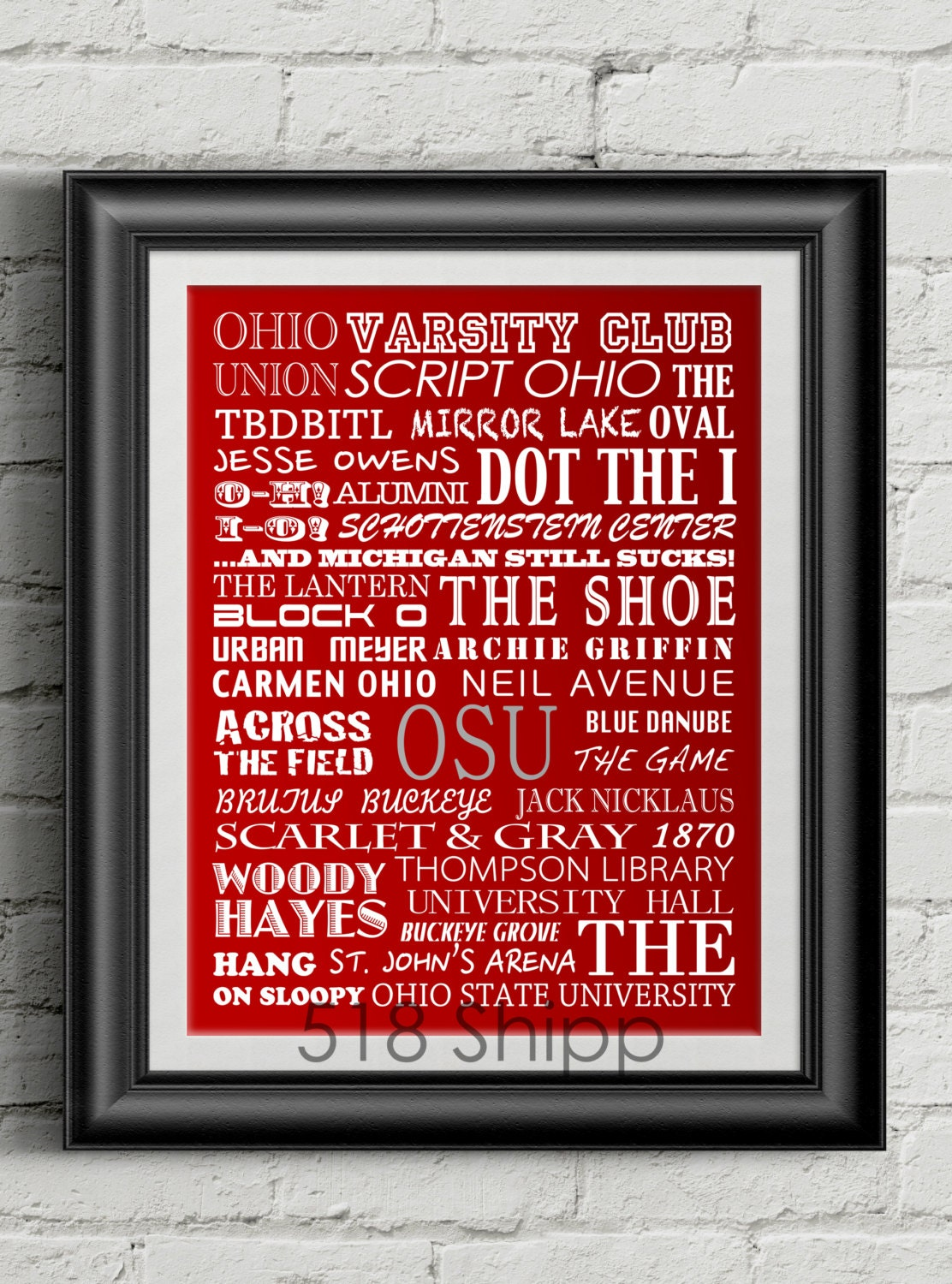 Ohio state university buckeyes urban meyer subway scroll art zoom amipublicfo Image collections