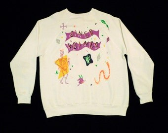 Oingo Boingo Concert Tour Sweatshirt Vintage Band T shirt 1980s White Size Medium Large 1986 Dallas Texas New Wave Danny Elfman Psychedelic