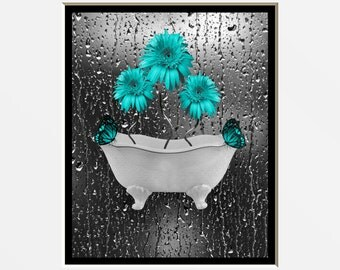Teal Gray Wall Art Photography/Daisy Flowers/Butterflies/Decorative Bathroom/Bedroom Matted Home Decor Picture