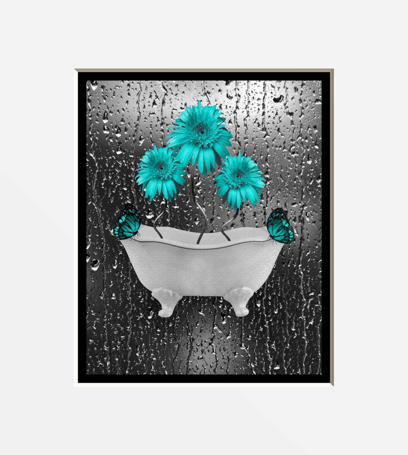 Teal Gray Wall Art Photography Daisy By Littlepiephotoart
