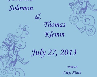 Wedding save the date blue