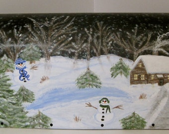 Winter Scene Mailbox with Log Cabin, Snowmen Frozen Pond with Weather and Fade Resistant Finish