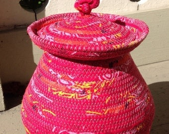 "Magenta ""Ginger Jar"" Coiled Basket or Vase"