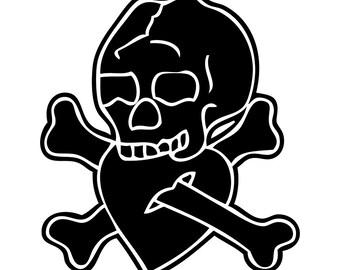 Skull Sailor Tattoo Vinyl Sticker