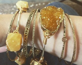 Sunrise Quartz Wire Wrapped Bracelet