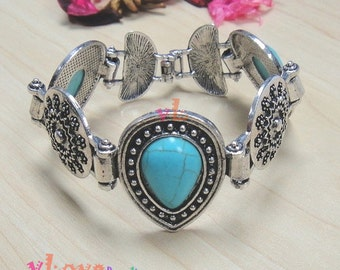 Metal Bracelet with Turquoise Stone (V-156)
