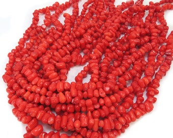 Red Bamboo Coral Beads, Red Coral Strand, 16 Inch Coral Strand, Beading Supplies, Item 501gsc