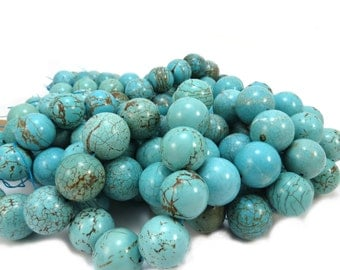 Blue Magnesite Beads, 18mm Round Blue-Green Magnesite Beads, 15 inch Strand, Jewelry Making Supplies, Item 512gsm