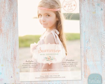 Summer Marketing Board - Mini Sessions - Photoshop Newsletter template - IH004 - INSTANT DOWNLOAD