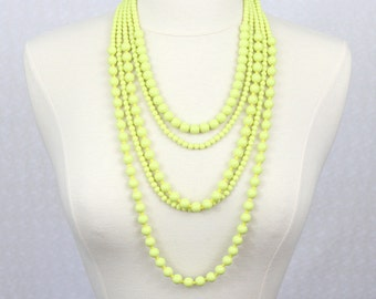 Lime Green Multi Strand Beaded Necklace Statement Necklace Multi Layered Necklace Beaded Necklace