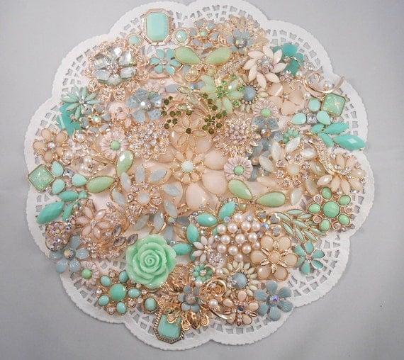 DIY Brooch Bouquet Kit IVORY MINT 65 pc Jewels Enamel Wedding