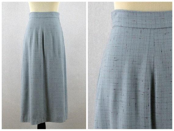 50s High Waisted Blue Skirt - Mid Calf Length Blue Woven Skirt - Vintage 1950s Secretary Skirt