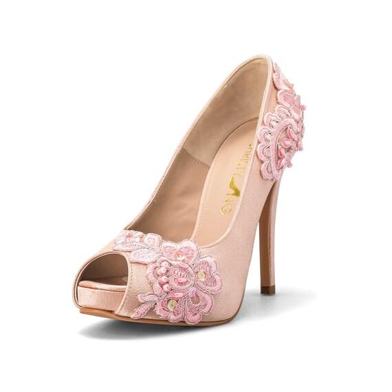 Te Amo Nude LoveNude Lace Adorned Wedding ShoesNude Bridal