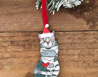 Cat Christmas decoration (tabby grey), wooden Christmas tree ornament, Christmas tree decoration cat lover gift, tabby cat gift