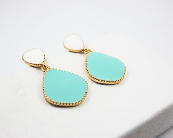 Blue and White Drop Dangle Earrings Gold Plated