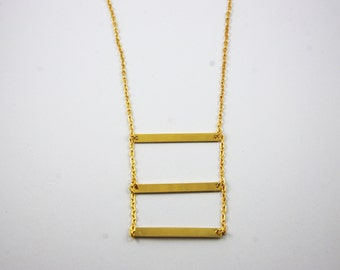 Gold Plated Three Triple Bar Stacked Necklace Minimalist Simple Dainty