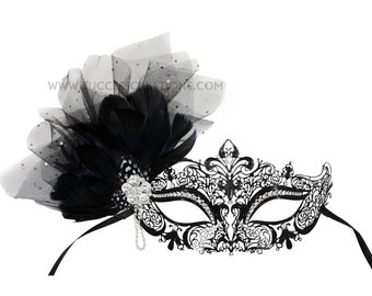 Camilla Bejeweled Decorated Laser Cut Masked Ball Mask - A-2477-R