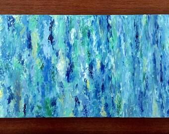Spring Rain. Original 10x20 abstract oil painting.