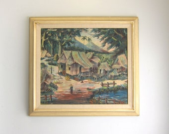 Vintage Mid Century Southeast Asian Village Framed Fabric Watercolor Painting - Tropical Village Art
