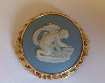 Vintage wedgewood cherub brooch