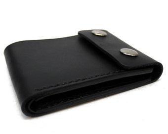 Leather chain wallet, leather biker wallet, leather snap wallet, mens leather wallet, leather bifold, black leather billfold, Hermann Oak