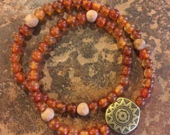 Amber Beaded Stretch Bracelet Antiqued Gold Tibetan Charm, Double Wrap, Bohemian, Fashion, Zen