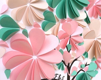 Heart Tree Guest Book - Custom Mint & Pink Wedding 3D Folded Paper Petals Alternative Party Guestbook