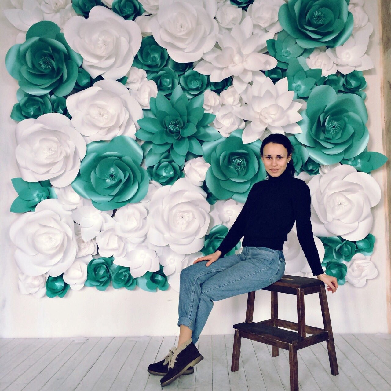 Giant paper flowers wall paper flower wall wedding wall zoom amipublicfo Images