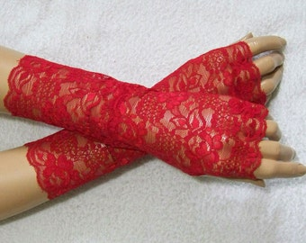 Holidays, Wampire, Lolita, Fingerless Gloves, Red, Lace, with Thumb Holes. IDEAL for HER
