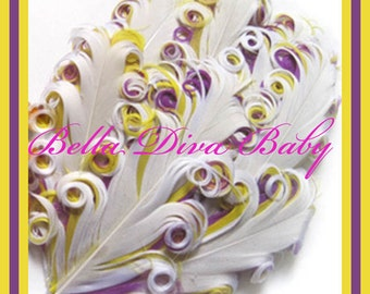 Nagorie curled Feather Pad 3 tones - white-yellow- purple- Elegant curly goose feathers  for vintage headband DIY for Photo prop
