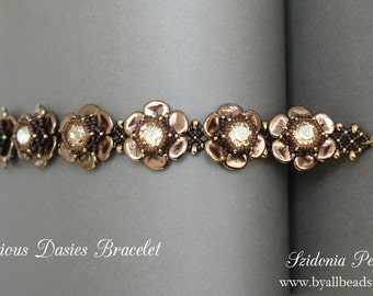 Czech Rose Petals Beaded Bracelet Tutorial - Precious Daisies Bracelet - Beading Pattern by Sidonia