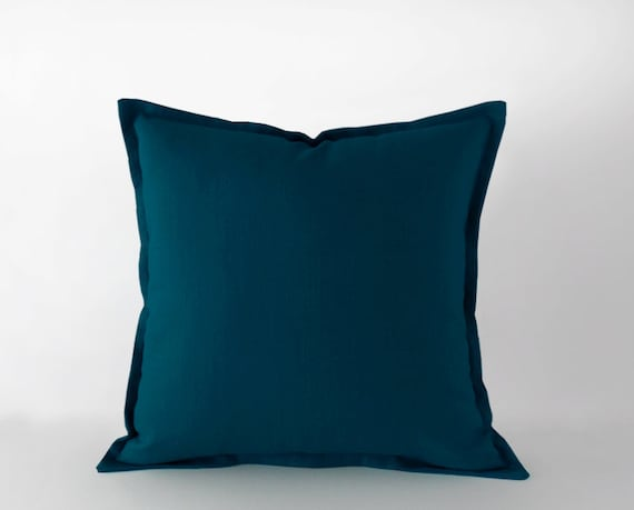 Dark Teal Blue Linen Pillow Cover With A Flange In 40x40 Cm