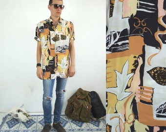 80's vintage men's white-yellow abstract patterned boho shirt