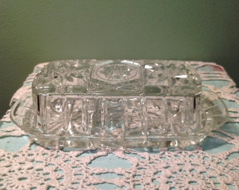 Vintage Glass Anchor Hocking Butter Dish