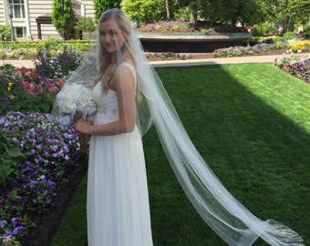 Chapel Length (7FT) Veil with Blusher