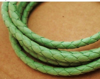 """SALE:  27""""  4mm Arizona Braided Leather cord, Green, round leather finding, flexible"""